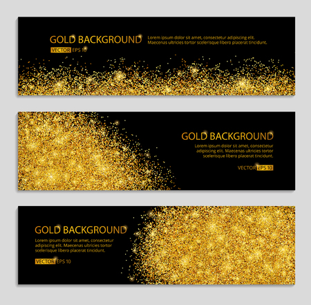 rich: Gold sparkles white background. Gold banner. Gold background. Gold club with text.  web,  card, vip, exclusive, certificate, gift, luxury, voucher, store, shopping, sale.