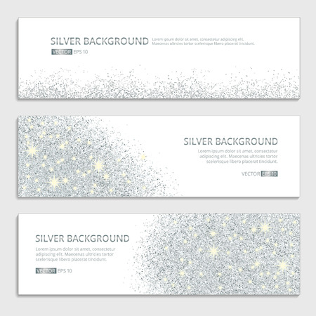 Silver sparkles on white background, banners. Silver banner with text. Banners , web, card. Vip certificate, gift, luxury privilege voucher, store present  shopping sale header. Vettoriali