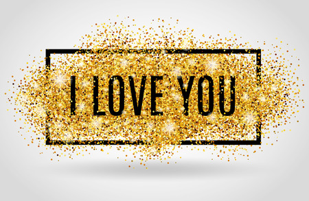 letter i: Valentines day background. I love you. Gold background for f Poster, sign, and web header. Abstract golden background for text, type, quote. Red blur background. Illustration