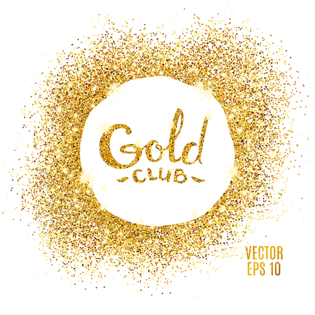 privilege: Gold sparkles on white background. Gold glitter background. Gold club icon for card, vip exclusive certificate, gift luxury, privilege voucher. Store present, shopping.