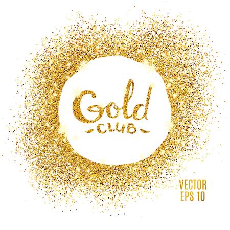 Złoto błyszczy na białym tle. Złotym tle brokat. Złoty Klub ikona karty VIP wyłącznej certyfikatu, prezent luksus, przywilej bon. Przechowywać obecne, zakupy. Ilustracje wektorowe