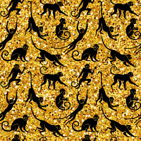 Sitting Monkey. Jumping Monkey. Running Monkey. Hanging and walking, standing fun monkey silhouette pattern. Isolated illustration. 向量圖像