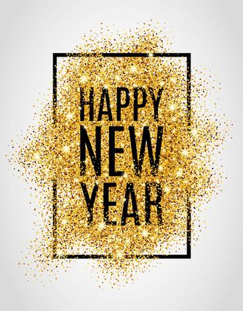 Bonne année. Or paillettes Nouvel An. fond d'or pour l'affiche. Inscrivez-symbole. web, en-tête. Résumé fond d'or pour le texte. Type de citation. Or flou fond. Banque d'images - 52729568