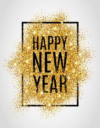 golden frame: Happy new year. Gold glitter New Year. Gold background for  poster. Sign symbol.  web, header. Abstract golden background for text. Type quote. Gold blur background. Illustration