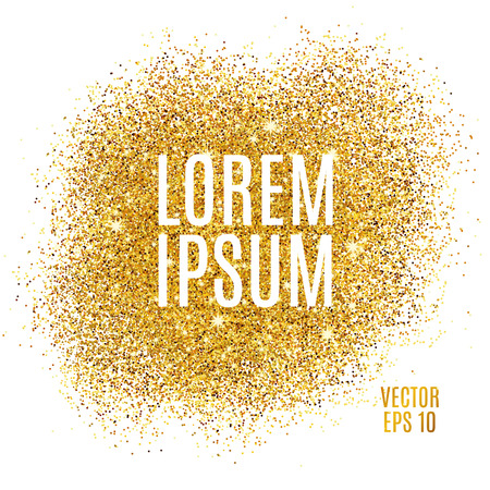 Gold sparkles on white background. Gold glitter background. Gold text for card, vip exclusive, certificate gift, luxury privilege, voucher, store present, shopping.