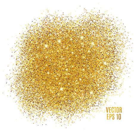 Gold sparkles on white background. Gold glitter background. Gold background for card, vip, exclusive. Gold certificate, gift, luxury privilege. Voucher store present, shopping.