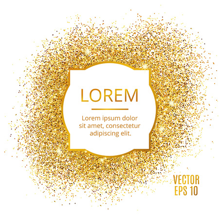 privilege: Gold sparkles on white background. Gold glitter background. Gold background for card, vip, exclusive. Gold certificate, gift, luxury privilege. Voucher store present, shopping.