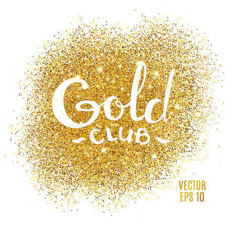 Gold sparkles on white background. Gold glitter background. Gold club  icon for  card, vip, exclusive certificate, gift, luxury privilege voucher, store present shopping.