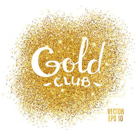 L'oro brilla su sfondo bianco. glitter background oro. icona Club Gold per la carta, vip, certificato esclusivo, regalo, voucher di lusso privilegio, negozio presente shopping. Archivio Fotografico - 52729613