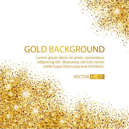 Gold funkelt Ecke auf weißem Hintergrund. Gold-Glitter Hintergrund. Gold-Text für die Karte, VIP-exklusive, Zertifikat Geschenk, Luxus, Privileg-Gutschein. Shop, Gegenwart, Einkaufen. Vektorgrafik