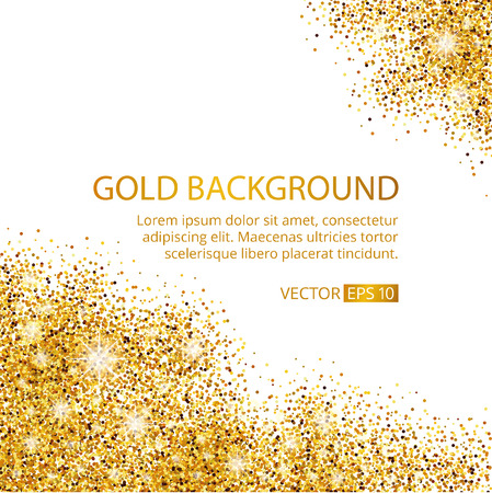 Gold sparkles corner on white background. Gold glitter background. Gold text for card, vip exclusive, certificate gift, luxury, privilege voucher. Store, present, shopping.