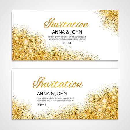 결혼식, 배경, 기념일 결혼 참여를위한 골드 결혼식 초대. 골드 배경입니다. 황금 인사말 카드입니다. 날짜를 저장합니다. 황금 빛과 밝은 반짝. 초대하