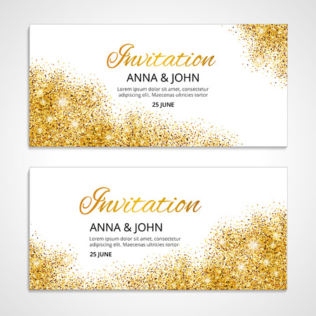 Gold wedding invitation for wedding, background, anniversary marriage engagement. Gold background. Golden greeting card. Save the date. Golden light and bright sparkles. For  invitation. Vectores