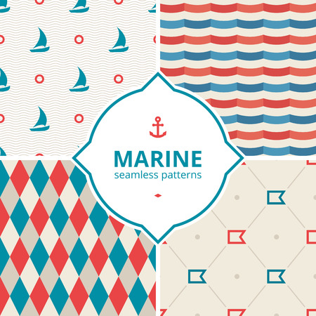 blue stripe: Red and blue wave seamless pattern. Marine seamless pattern with boat, rhombus.