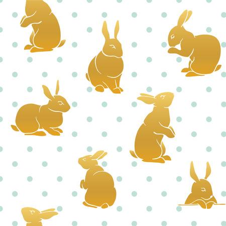 Conejo de color patrón de cosecha sin fisuras patrón. patrón Eastr feliz. silueta del conejo por un icono, banderas, tarjetas de felicitación.