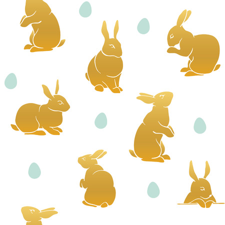 Conejo de color patrón de cosecha sin fisuras patrón. Patrón de Pascua feliz. silueta del conejo por un icono, banderas, tarjetas de felicitación.