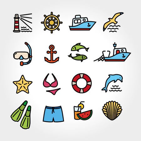 Marine line icon color type. Dolphin and lighthouse, seagull bird, boat ship, fishing fish. Anchor starfish swimsuit shorts fins, steering wheel lifebuoy watermelon, cocktails, shell