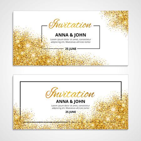 engagement: Gold wedding invitation for wedding, background, anniversary marriage engagement. Illustration