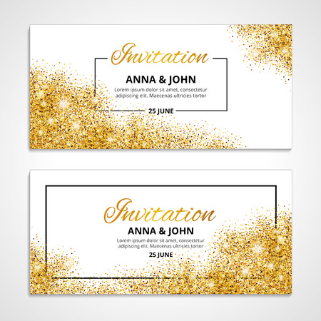 Gold wedding invitation for wedding, background, anniversary marriage engagement. Vectores