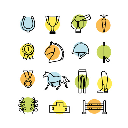 Horse equipment icon set color thin line.