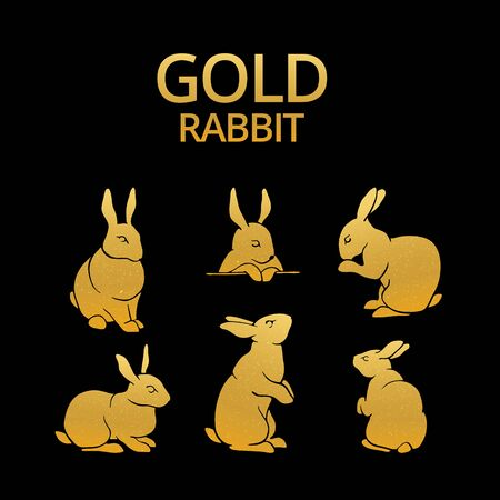 siluetas conejo de oro logotipo, icono y tatoo. oro de conejo para la etiqueta engomada, impresión y patrón. Conejo de Pascua feliz.