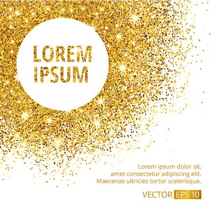 gold design: Gold sparkles corner on white background.