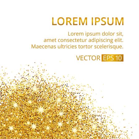 Gold sparkles corner on white background.
