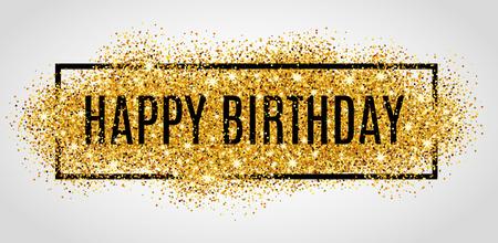 oslava: Zlatá jiskří na pozadí Happy Birthday. Všechno nejlepší k narozeninám pozadí. Pozdrav zázemí pro kartu, leták, plakát, znaménko, poutač, webu, pohlednice, pozvání. Abstraktní fest zázemí pro text, typu nabídku. Zlaté rozostření pozadí.