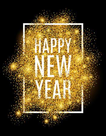 Happy new year. Gold glitter New Year. Illustration