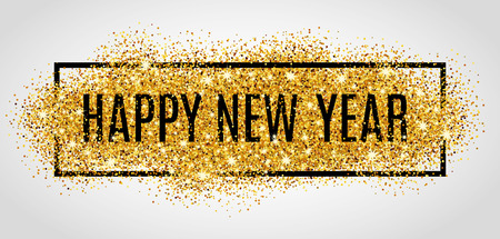Happy new year. Gold glitter New Year. Vectores