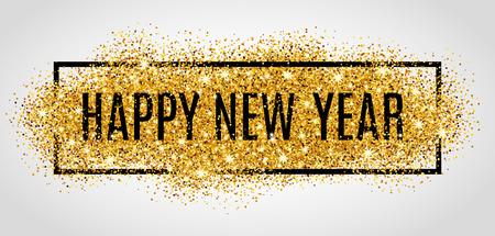 leuchtend: Frohes neues Jahr. Gold-Glitter Neues Jahr.