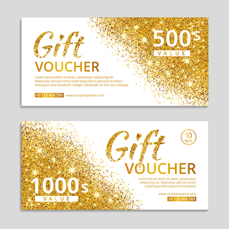 Glitter sparkles on white background, voucher. Stock Illustratie