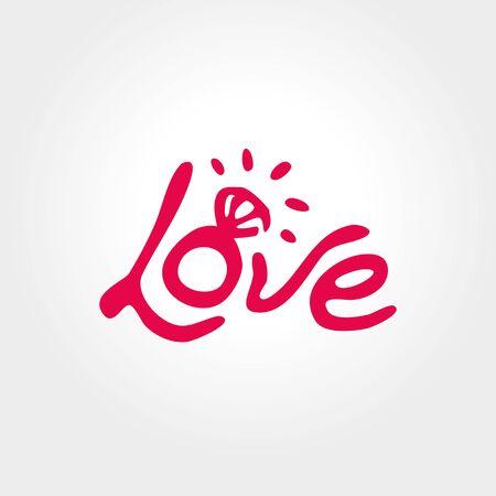 결혼식: 반지, 프리 핸드 문자 사랑, 사랑