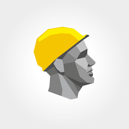 trade: Worker man head in yellow helmet.