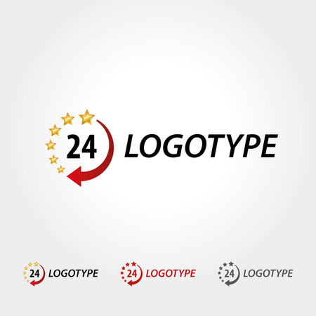 readiness: Logo 24 hours, business logotype, star and clock