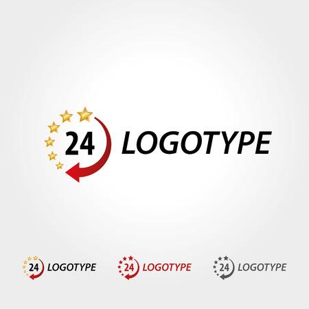 twenty four hours: Logo 24 hours, business logotype, star and clock