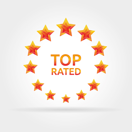 rated: Golden stars in the circle. Top rated icon for awards and competitions. Vector logotype.