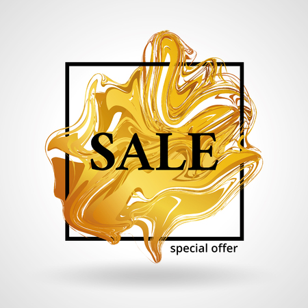 liquid gold: Gold sale background for poster, shopping for sale sign discount, marketing. Liquid gold selling, banner, web header. Marble golden background for text, type, quote. Gold blur background