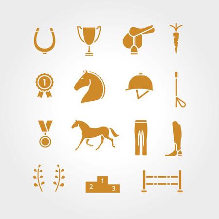 horse saddle: Horse equipment icon set gold thin line. Horse line icon golden . Horseshoe, winner, horse, saddle, equestrian icon. Line icon, equestrian horse . Illustration