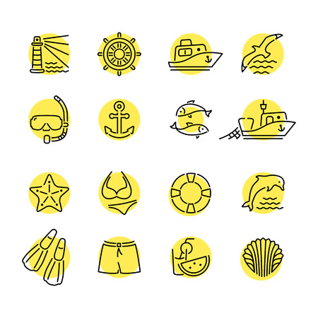 fishing line: Marine line icon color in circle. Dolphin and lighthouse, seagull bird, boat ship, fishing fish. Anchor starfish swimsuit shorts fins, steering wheel lifebuoy watermelon, shell