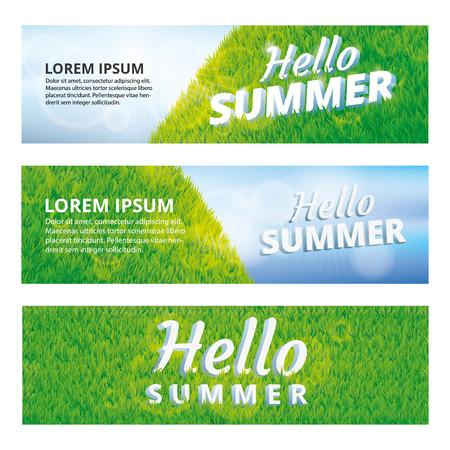 夏天你好绿草纹理。夏天你好模式。草纹理背景。草坪无缝图案为条幅、网页、卡、vip专属证书、礼品豪华礼券。