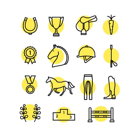 Jazda Sprzęt zestaw ikon kolor cienka linia. Jazda ikona kolor linia w kole. Podkowa, zwycięzca, konia, siodło, konny ikona. ikona linia, jeździectwo konne.