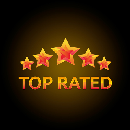 rated: Golden stars in the circle. Top rated icon for awards and competitions.