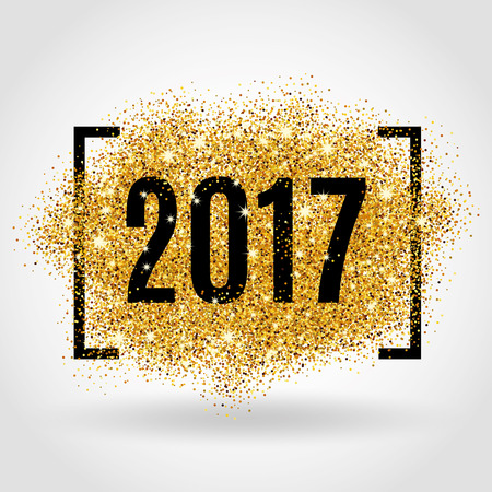 Happy new year. Gold glitter New Year. Gold background for flyer, poster. Sign symbol. Banner, web, header. Abstract golden background for text. Type quote. Gold blur background.