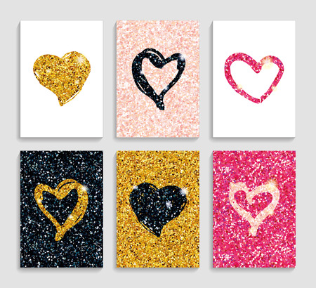 pink and black: Valentines day greeting card background. Love heart. Pink, gold, black hearts sparkles for flyer, poster sign banner, web header. Abstract for text, type, quote. Happy valentines day Stock Photo