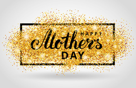 Happy Mother day gold glitter background. Golden design in frame, border for greeting card, flyer poster, sign, banner, web header. Abstract sparkle texture for mothers day. Light blur sequin.