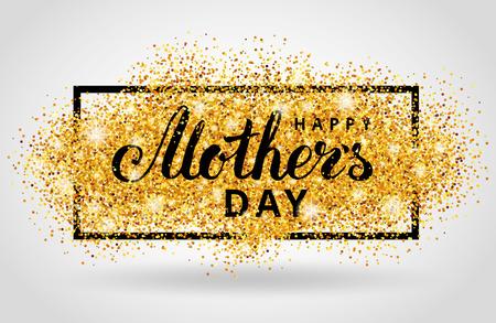 Happy Mother Tag Gold-Glitter Hintergrund. Golden design in Rahmen, Grenze für Grußkarten, Flyer Plakat, Zeichen, Banner, Web-Header. Abstrakt Funkeln Textur für Muttertag. Licht verschwimmen Pailletten. Standard-Bild - 69701736