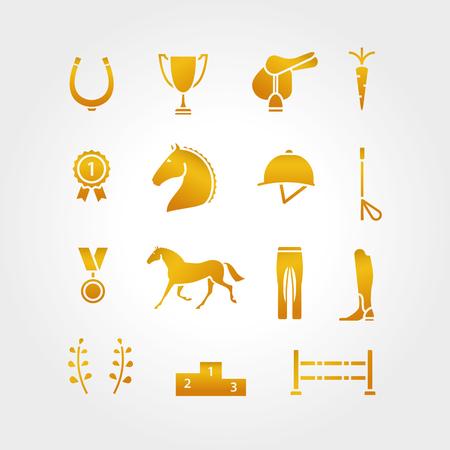 saddle: Horse equipment icon set thin line. Color in circle , logotype. Gold sign, symbol. Horseshoe, winner, horse, saddle, equestrian icon Equestrian horse logotype