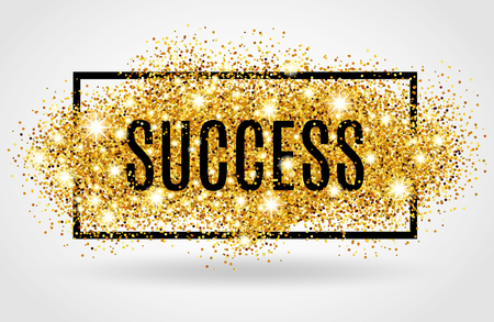 Success symbol. Successful gold background for poster, banner, web header.