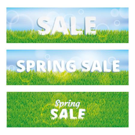 sales floor: Super sale spring green grass background